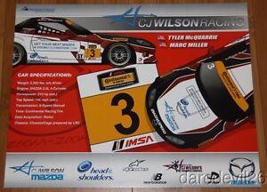 2014 CJ Wilson Racing #3 Mazda MX-5 ST IMSA CTSC postcard