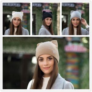 Ladies-Cat-Ears-Women-Hat-Knitted-Warm-Winter-Baggy-Beanie-Caps-Crochet-Ski-New