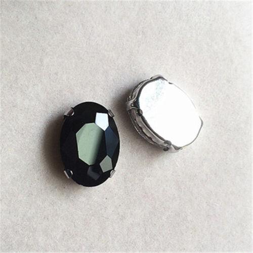 50pcs 8x10mm sew on rhinestone oval cabochons crystal glass DIY dress making