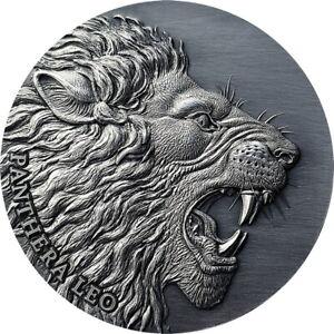 Loewe-Panthera-leo-2-OZ-Antique-Finish-Silber-Muenze-Kamerun-2020