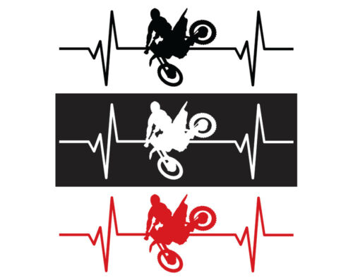 "Sticker Motorcycle Heartbeat Decal IDS-024 8/"" Dirt Bike"