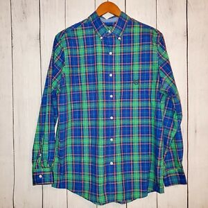 Chaps-Easy-Care-Mens-Long-Sleeve-Plaid-Button-Down-Dress-Shirt-Size-M-EUC