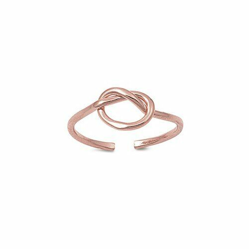 Rose Gold over Sterling Silver Adjustable Size Toe Ring with Knot Design