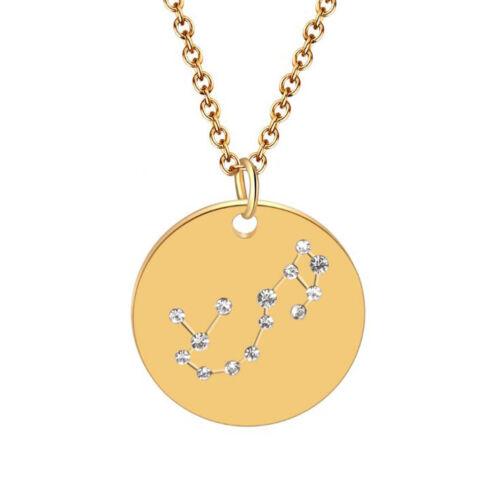 Unisex Zodiac  Necklace Constellation Jewelry Horoscope Pendant Astrology Chain