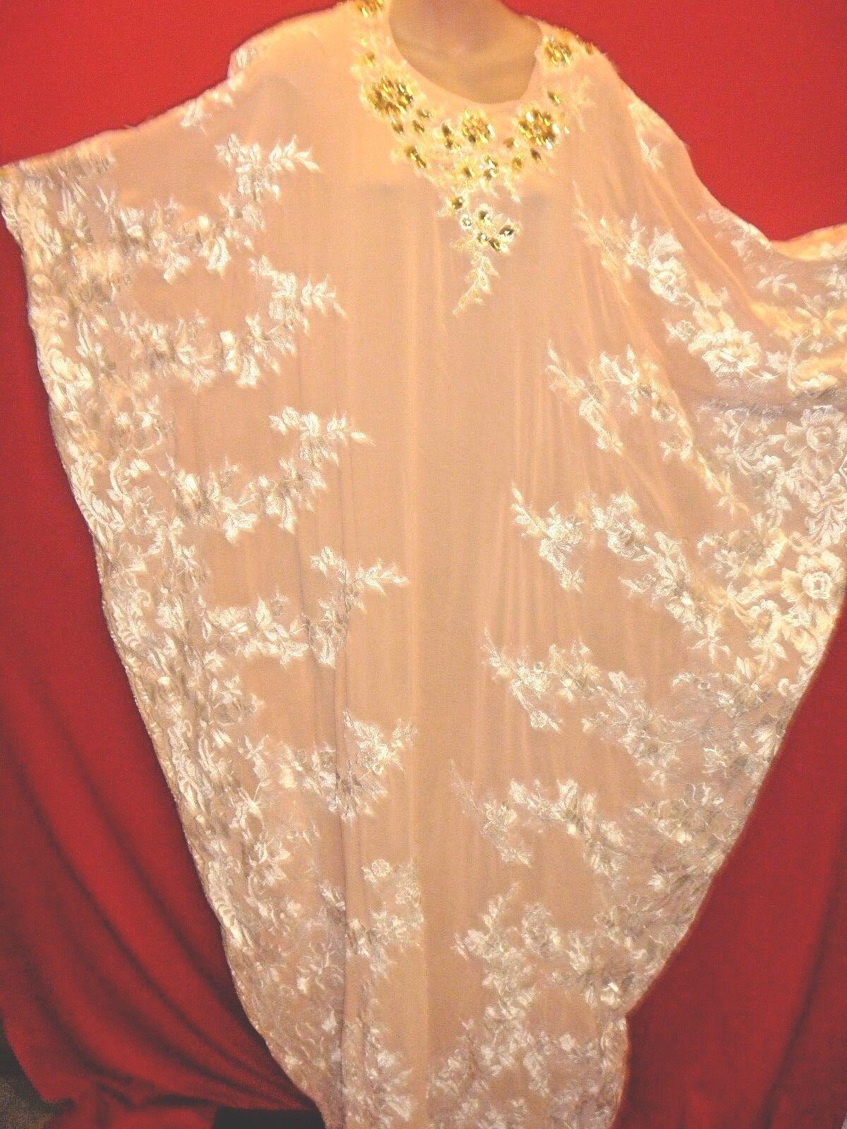 Hermoso Vestido De Seda  Caftan ceremonial Bata Albaricoque joyas Crochet Floral Boda  lo último