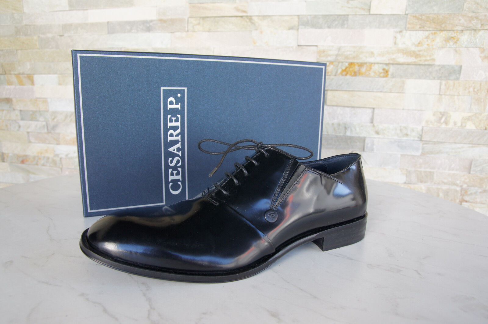 Cesare P.Paciotti Size 42 8 Lace-Up Loafers shoes Black New