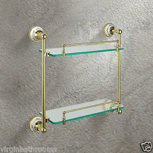 Gold Victorian Style Solid Brass Bathroom Double Glass Shelf With Rails