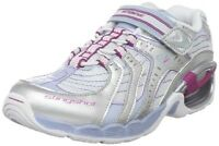 Striderite Slingshot Non-tie Silver/blue/white Girls Sneakers Size 10 1/2 Wide