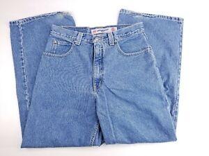 Anchor-Blue-Huge-Mens-Medium-Wash-Wide-Leg-Rave-Skate-90s-Jeans-32x30-31x30