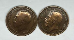 1916-amp-1918-Great-Britain-Penny-Bronze-KM-810-2-Coins-Make-An-Offer-E00025