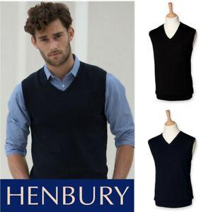 100% QualitäT Henbury - Lightweight Sleeveless Cotton Acrylic V Neck Sweater - Sizes S-4xl üBerlegene Materialien