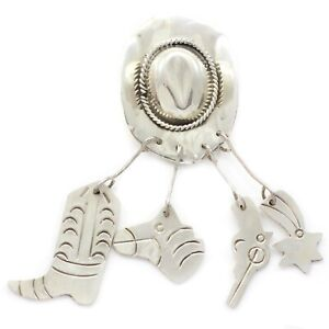 stamped Mexico 925 TV-72 taxco 925 silver cowboy boots and saddle pin Vintage Sterling silver handmade brooch