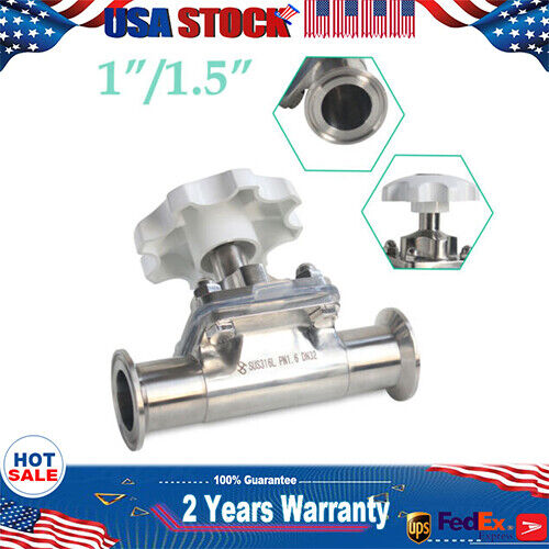 """USA 1.5/"""" Sanitary Stainless Steel 316L Tri-Clamp Diaphragm Valve For Water Oil"""