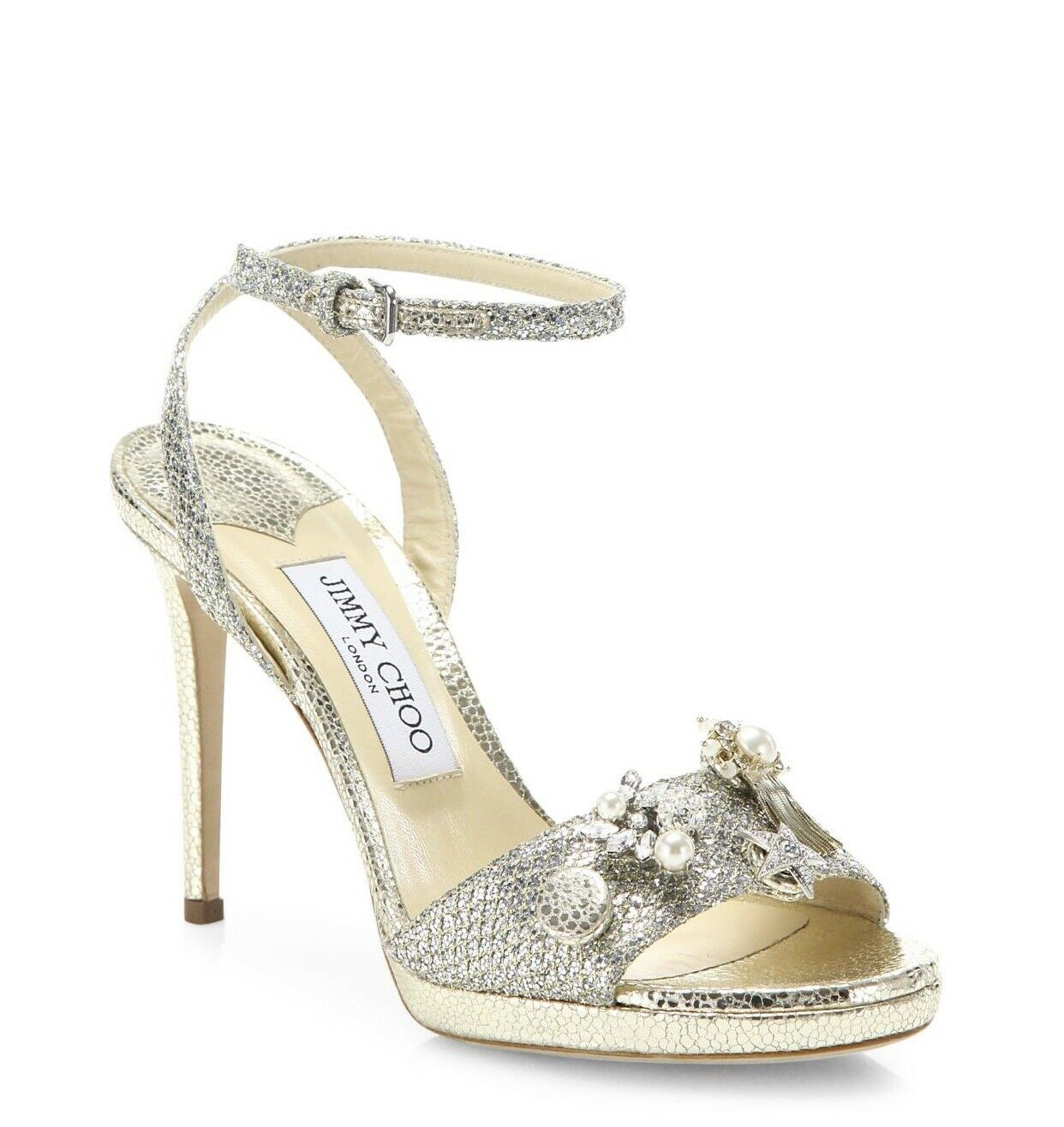 Jimmy Choo Electra 100mm Button Glitter Ankle-Strap Sandals Size 39 9  950.00
