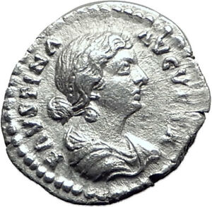 FAUSTINA-II-Marcus-Aurelius-wife-161AD-Silver-Ancient-Roman-Coin-Happy-i65087