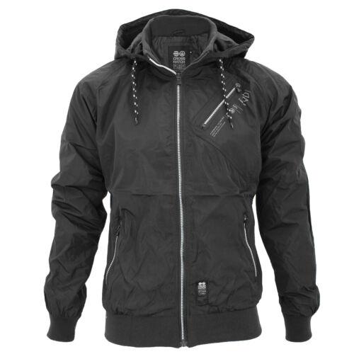 Mens Crosshatch Lightwieght Windbreaker Contrast Showerproof Hooded Jacket Coat