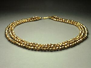 1960-039-s-Vintage-Czech-Bohemian-3-Row-Gold-Tone-Faceted-Glass-Bead-Necklace