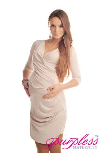 New MATERNITY RUCHED SIDE V NECK DRESS Pregnancy Wear Size 8 10 12 14 16 18 6408