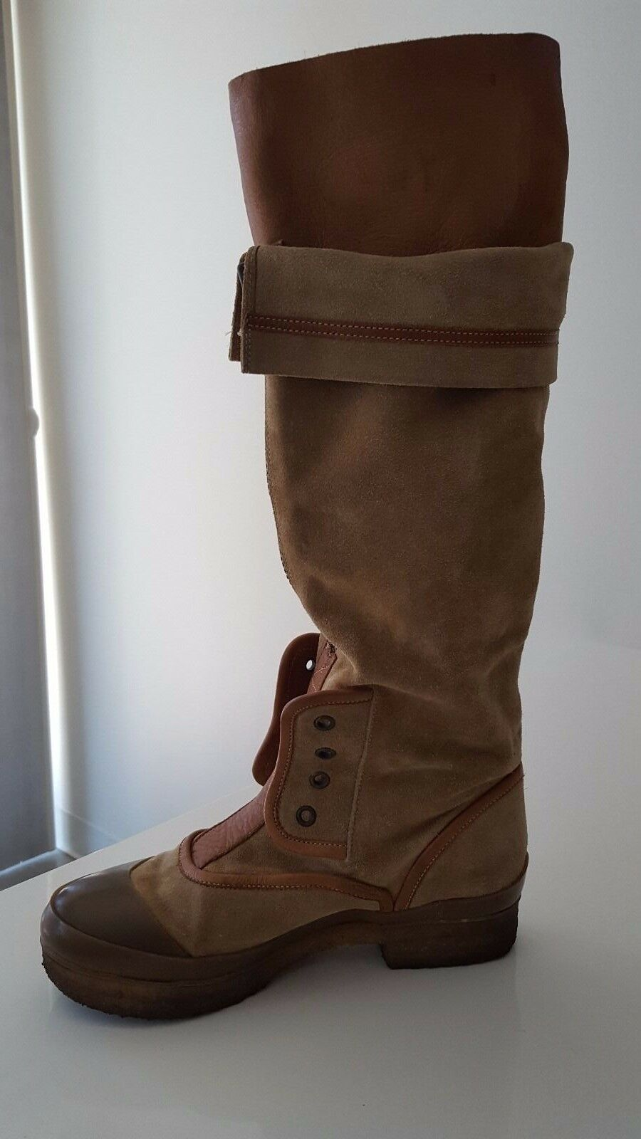 Chloe Tan Suede and Leather Combo Slip On Fashion Snow Snow Snow Boots Sz 36 1 2( 6.5 US ) 86d5a3