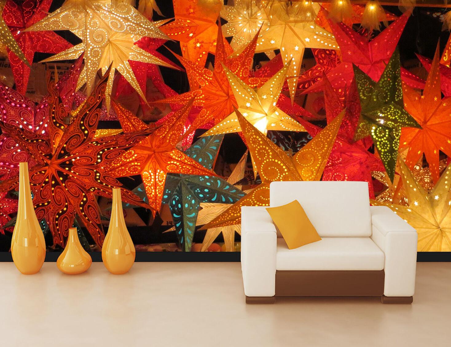 3D Weihnachten Farbige Ahornblätter Fototapeten Wandbild BildTapete Familie DE