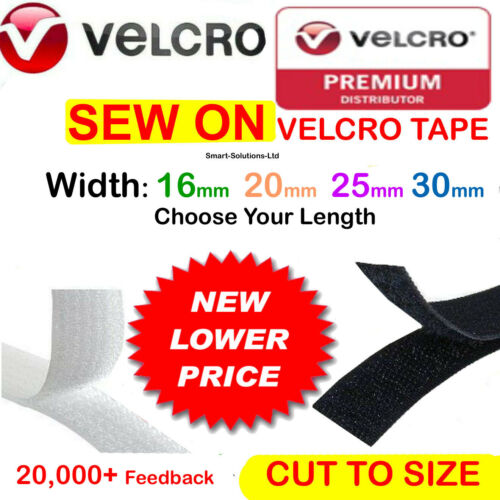 SEW ON VELCRO® Strips Hook /& Loop 20mm Sewing//Stitch-On Fabric Tape Black White