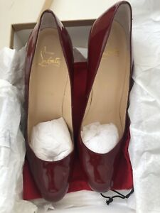 best service 6312b 23cdc Details about Christian Louboutin Simple Pump 100 Calf patent Burgundy Red  Leather 41/ 11