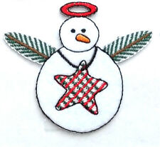 SNOWMAN ANGEL COUNTRY WINTER IRON ON APPLIQUE