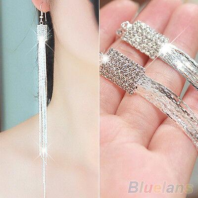 Women's Creative Square Rhinestone Drop Long Tassels Chain Hook Linear Earrings