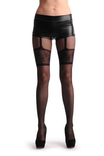 Black Faux Suspender With Floral Garter T000691