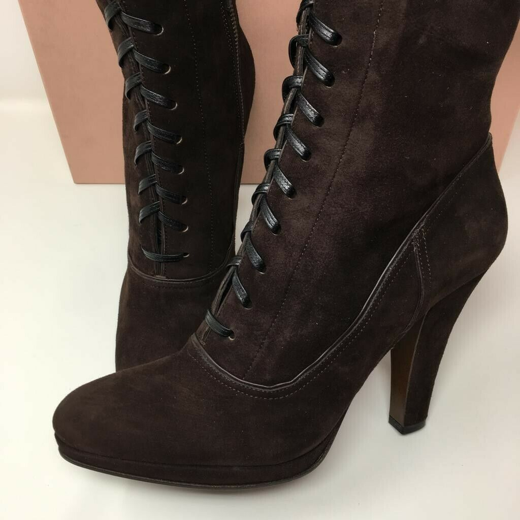MIU MIU Suede Lace Up Ankle Stiefel - braun - UK 7 EU 40 -