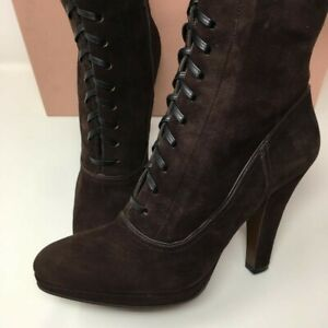 MIU MIU Suede Lace Up Ankle Boots