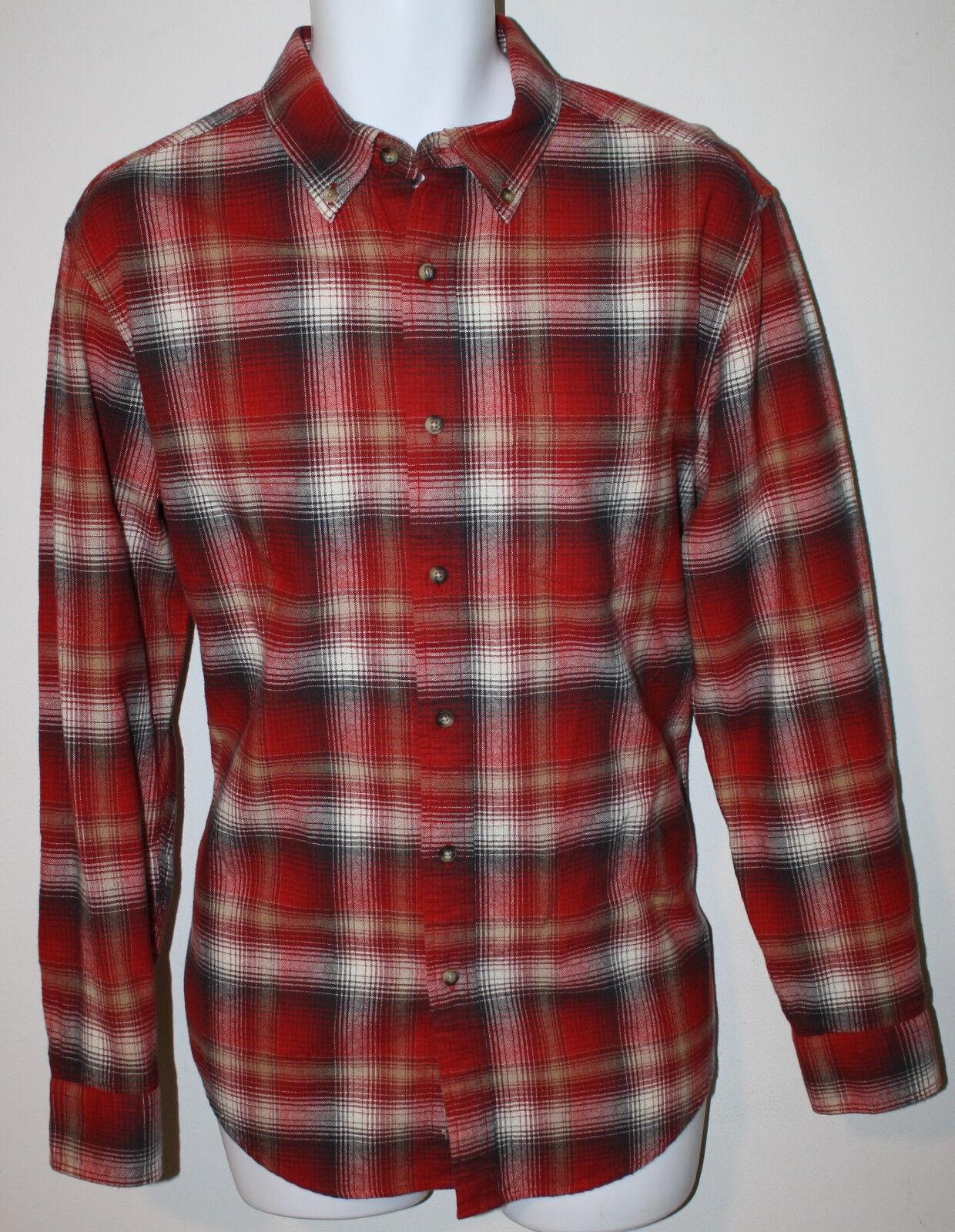 PENDLETON Red Tan Brown Plaid Flannel Lister LS Shirt NWT M Thomas Kay