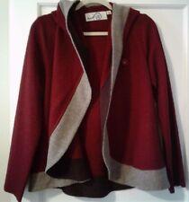 Anthropologie Rosie Niera Boiled Wool Colorblock Sweater Coat Cape M Med Merlot