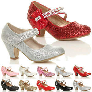 917b85eb6c5b GIRLS KIDS CHILDRENS LOW HEEL PARTY WEDDING MARY JANE STYLE SANDALS ...