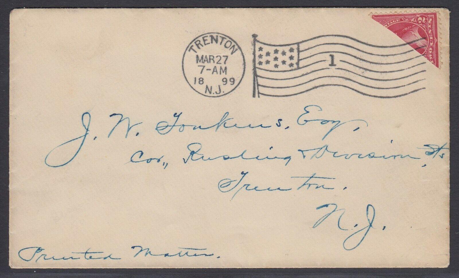 US Sc 252/267/279B - 1899 Diagonal BISECT on cover to Trenton NJ, w/ APS cert