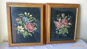 Vintage-Framed-Cross-Stitch-Design-Artwork-Floral-Oak-Frame-Set-of-2-Under-Glass
