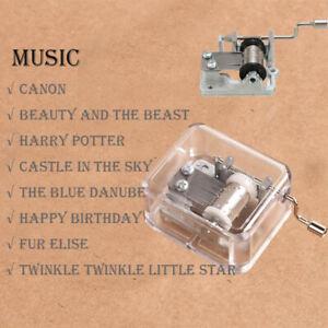 Transparent Hand Crank Acrylic Music Box Kids Toy Birthday Xmas Gift Fur Elise