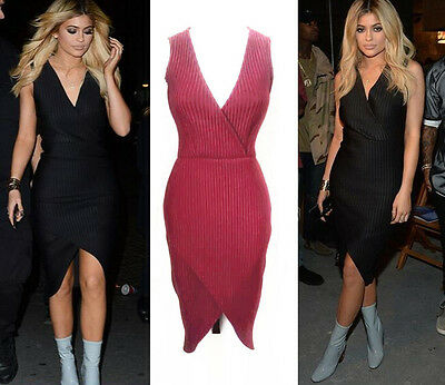 Womens Celeb V Neck Lined Ribbed Wrap Hem Bodycon Midy Overlap Party Dress Uk Angenehm Bis Zum Gaumen