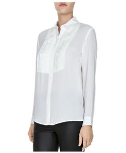 The Kooples Weiß Button Down Tuxedo Style Shirt - Woherren XS - NWT