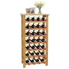28 Bottle Bamboo Wine Standing Rack Countertop Bottle Storage Containers