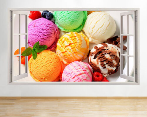Pegatinas de Pared helado colores alimentos Café Ventana Calcomanía 3D C206 Sala de vinilo artística