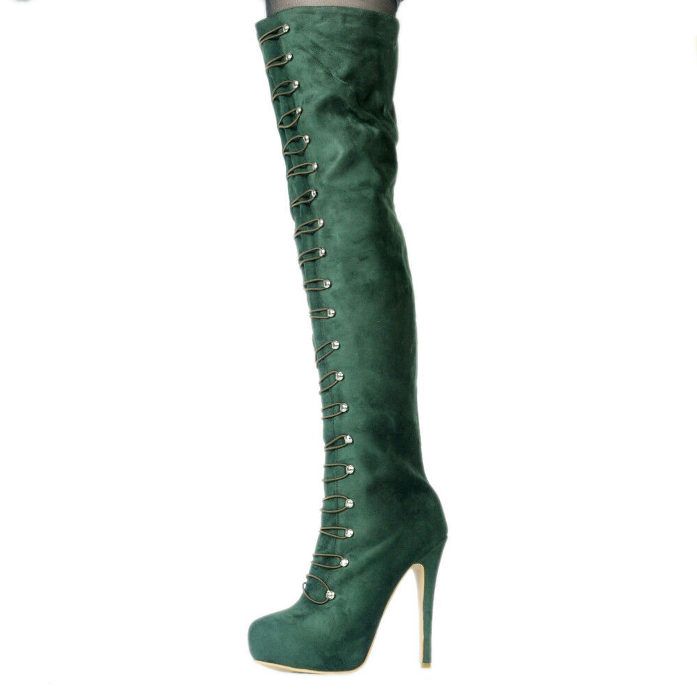 NICE Women Over-Knee Boots Round Toe Thin Heels Heels Heels Boots Green shoes Plus Size 4-20 bcc627