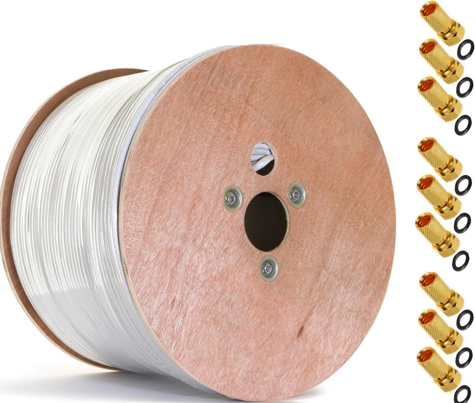 +100x VG] 500m SAT-Kabel 120dB Stahl-Kupfer Koaxialkabel TV Antennenkabel 4K UHD | Hat einen langen Ruf
