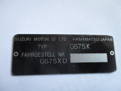 Typenschild id-plate Schild Suzuki GS75X s39 GSX 750 E Youngtimer Motorrad bike