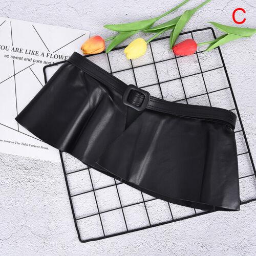 Ruffle Female Belt Women PU Leather Corset Harness Belts Dresses Costumes Bla/_ws