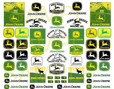 John Deere decals water slide 1:64 scale decal sheet 1/64 #26 Hot Wheels