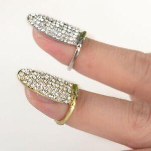 Nagel-Ring-Fingerspitzenring-Fingernagelring-Nagelschmuck-Strass-Gold-Silber
