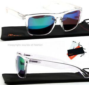 Grosse-Sonnenbrille-Transparent-Gruen-Blau-Verspiegelt-Nerd-Rechteckig-Big-XL-T2