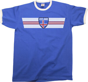 differently 77413 aba41 Details about Mens ICELAND Football T-Shirt WORLD CUP 2018 Russia Retro  Strip Kit Sports ISLAN