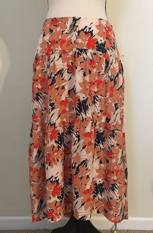NEW Madewell Tiered Midi Skirt SizeM Painterly Floral Dried Coral SAMPLE SP'18